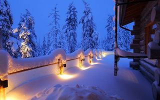 Photo free winter, evening, house