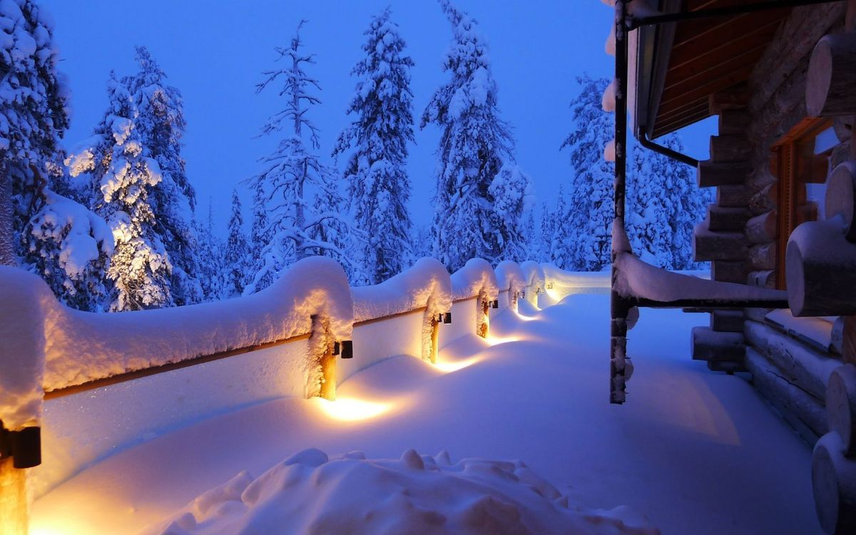Фото бесплатно зима, вечер, дом - на рабочий стол