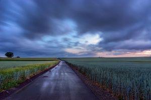 Бесплатные фото закат,поле,дорога,пейзаж