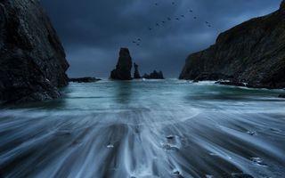 Фото бесплатно птицы, облака, скалы