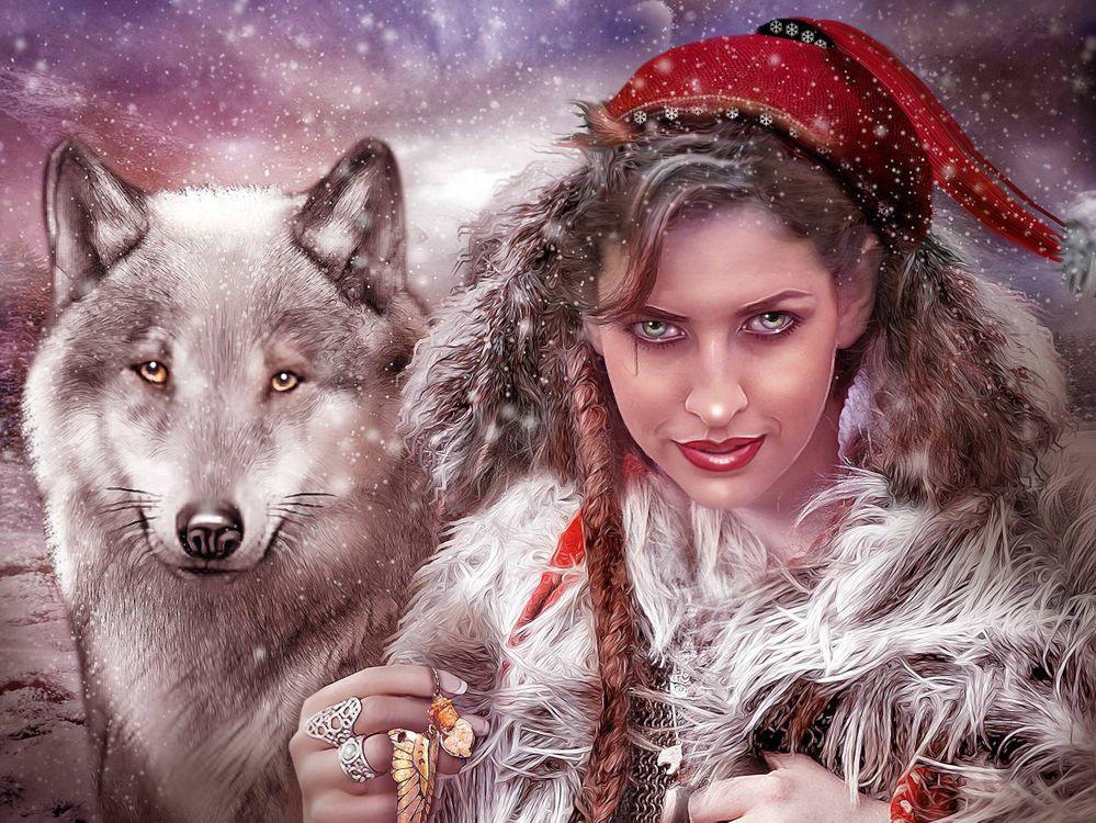Фото бесплатно девушка, волк, взгляд, фантастика