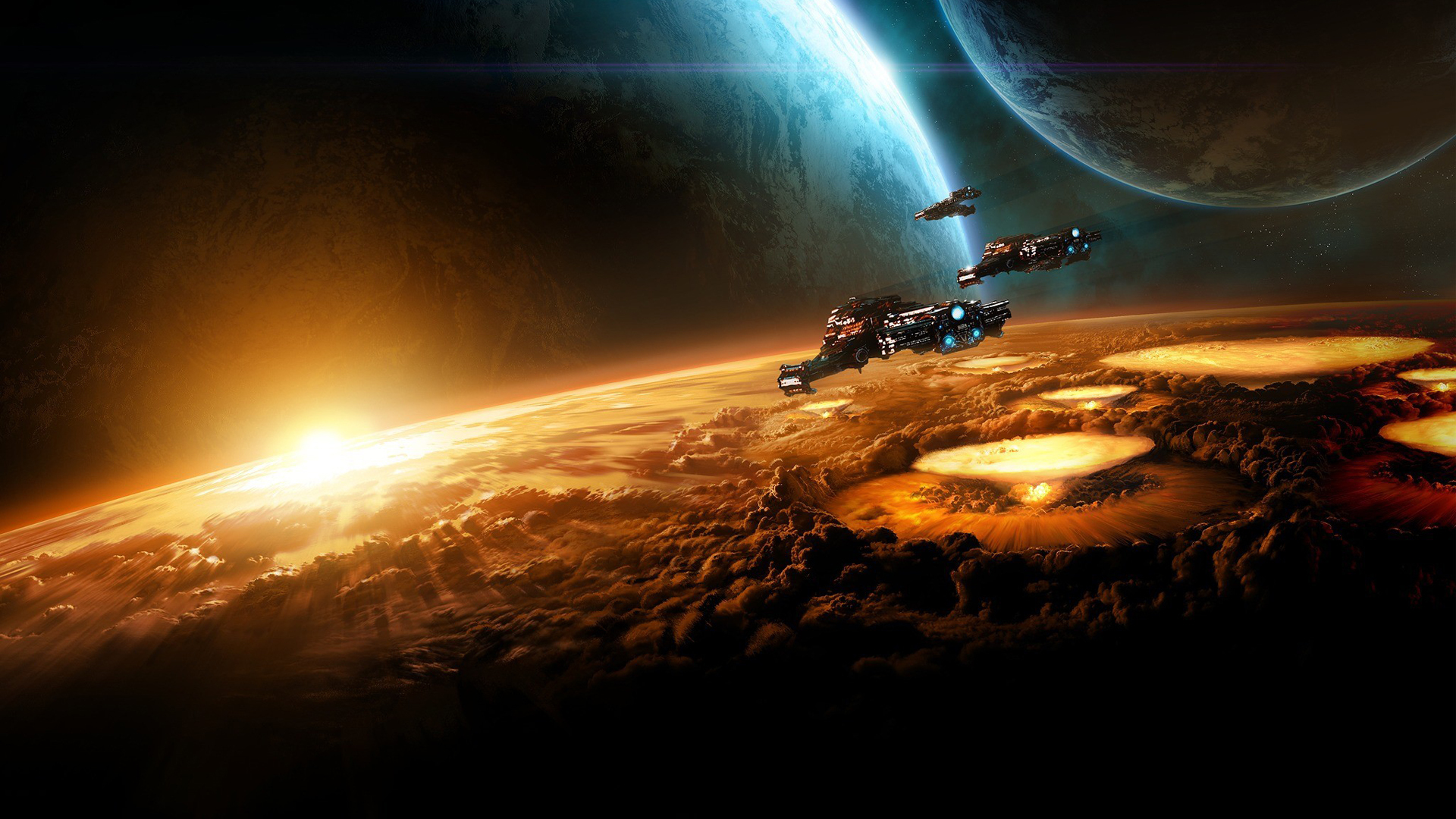 Обои Космические корабли, планеты, взрывы, кратеры