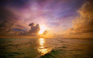 Фото бесплатно закат, солнце, волны