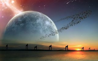 Бесплатные фото новые миры,планета,кольцо,закат,звезда,метеориты