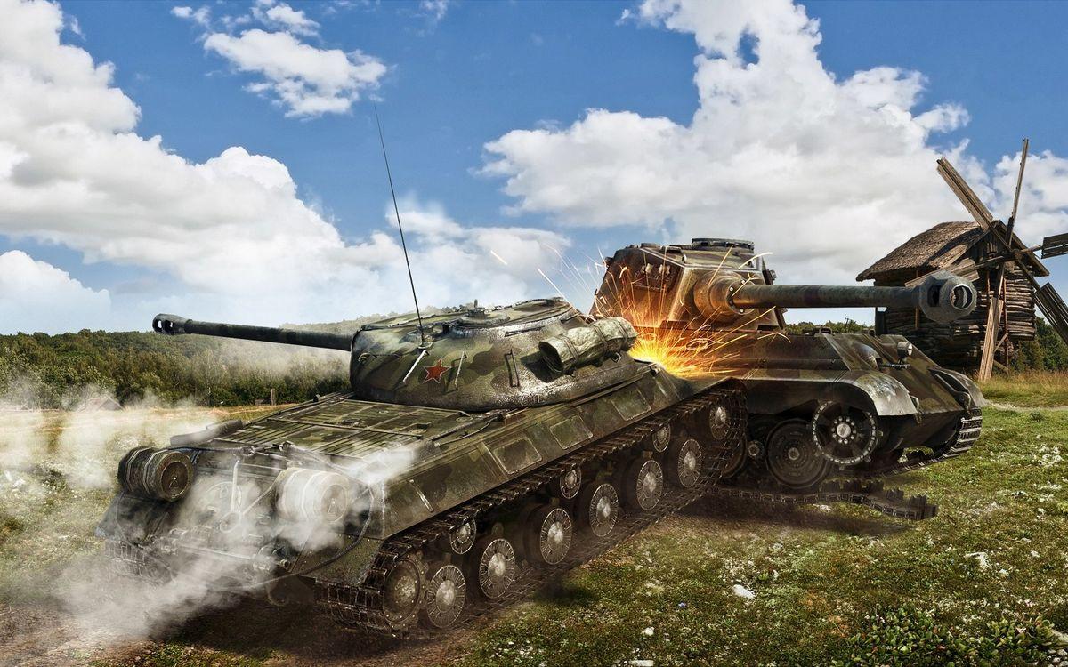 Фото бесплатно танки, бой, таран, дым, искры, мельница, игры