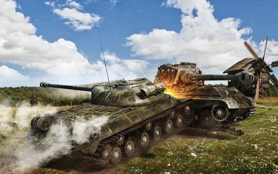 Бесплатные фото танки,бой,таран,дым,искры,мельница