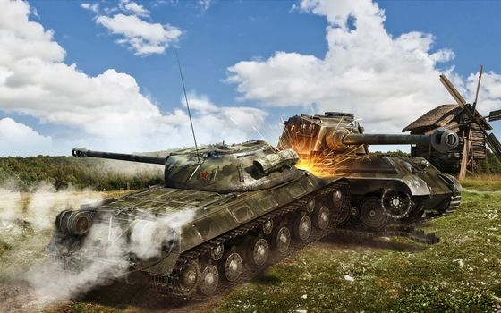 Фото бесплатно танки, бой, таран