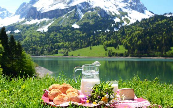 Бесплатные фото горы,речка,трава,пикник