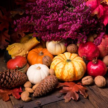 Photo free basket, autumn composition of vegetables and fruits, cones