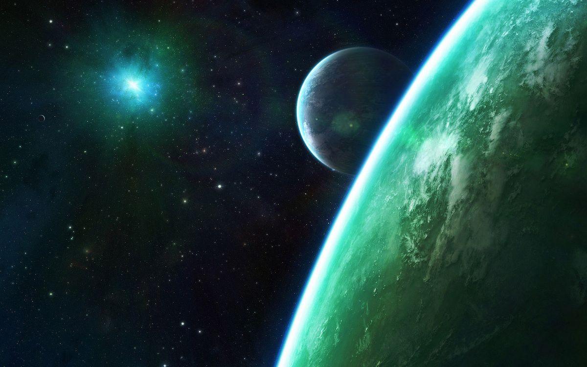 Фото бесплатно планеты, звезды, свечение, невесомость, вакуум, космос