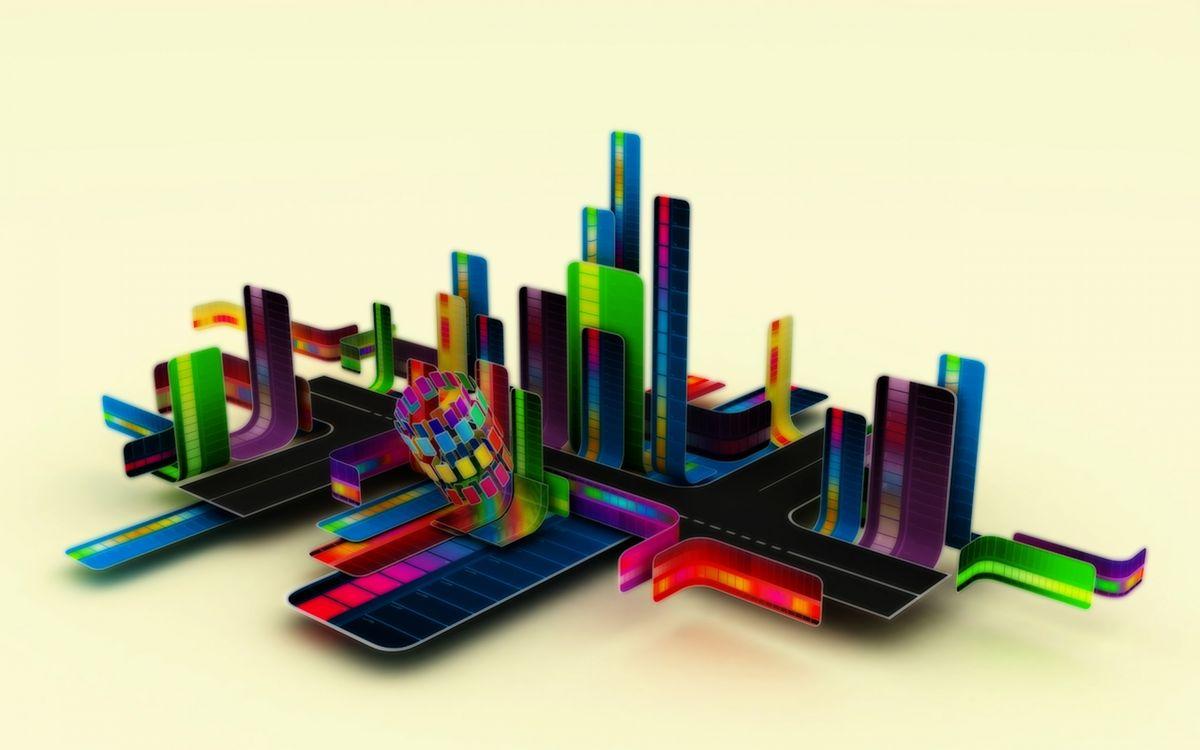 Фото бесплатно Строения, город, цвета, дороги - на рабочий стол