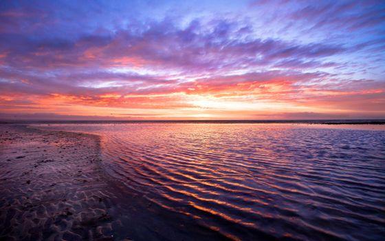 Заставки закат и океан, небо