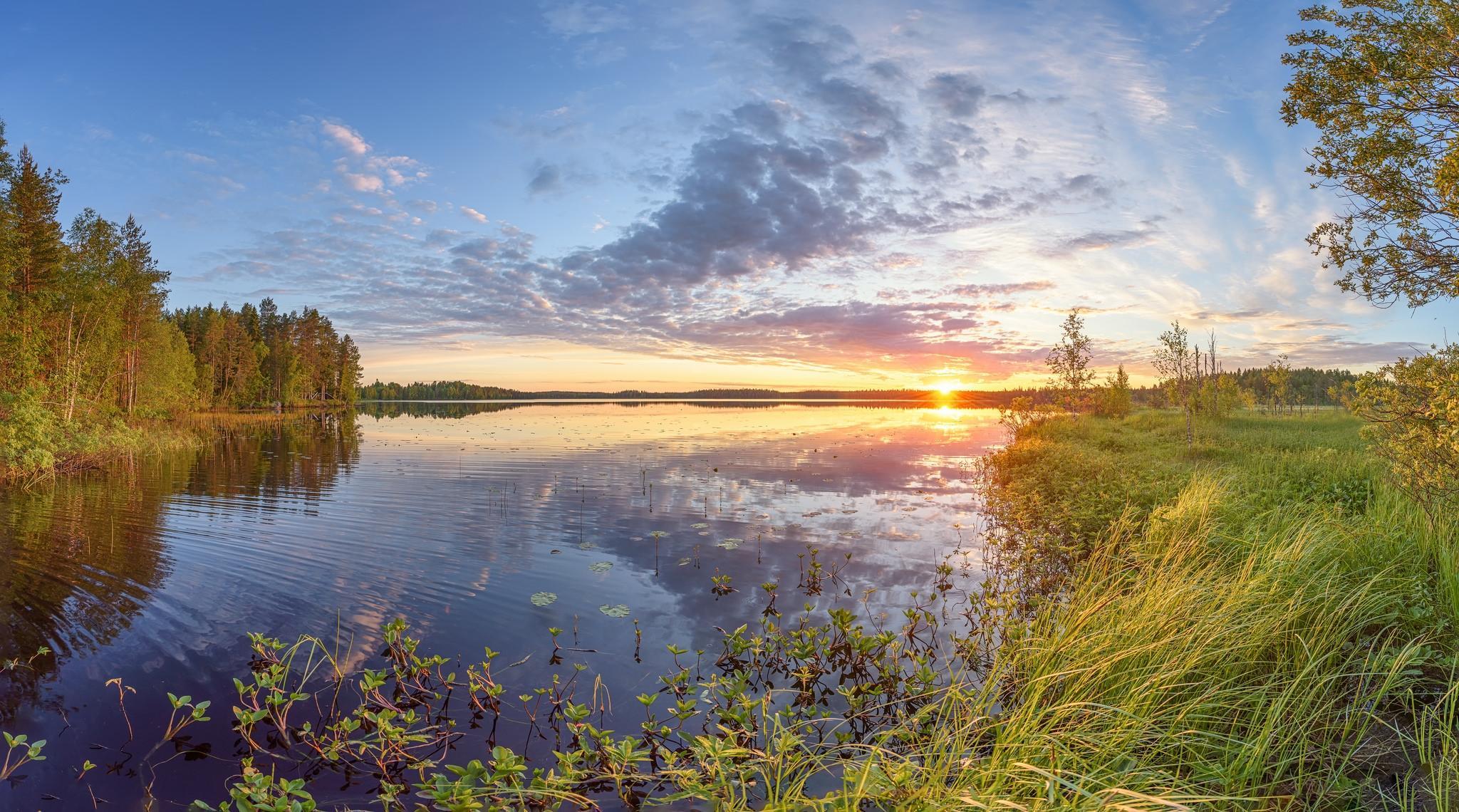 обои закат, озеро, пейзаж картинки фото