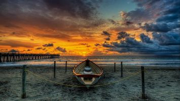 Заставки берег, песок, лодка