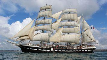 Бесплатные фото море,парусник,корабль,мачты,паруса,команда,небо