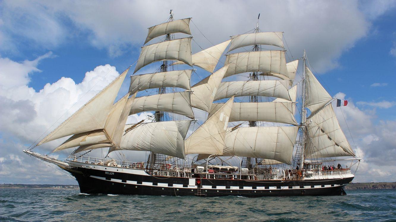 Фото бесплатно море, парусник, корабль, мачты, паруса, команда, небо, облака, корабли