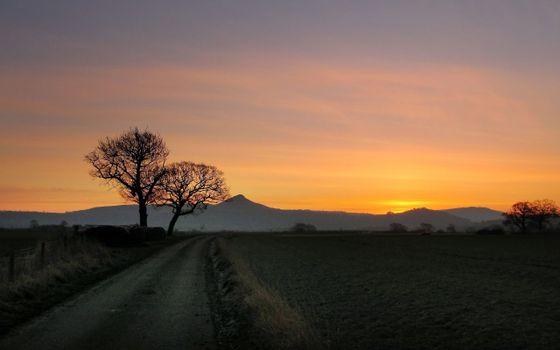 Фото бесплатно загородная дорога, поле, деревья, закат, горы