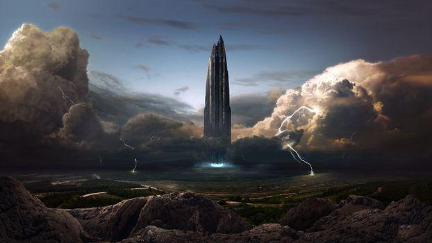Фото бесплатно звездолет, запуск, молнии