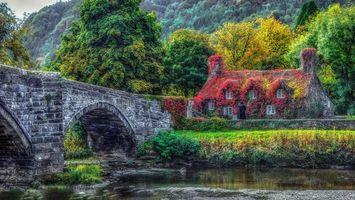 Бесплатные фото Конви,Северный Уэльс,река,мост,дом,осень,пейзаж