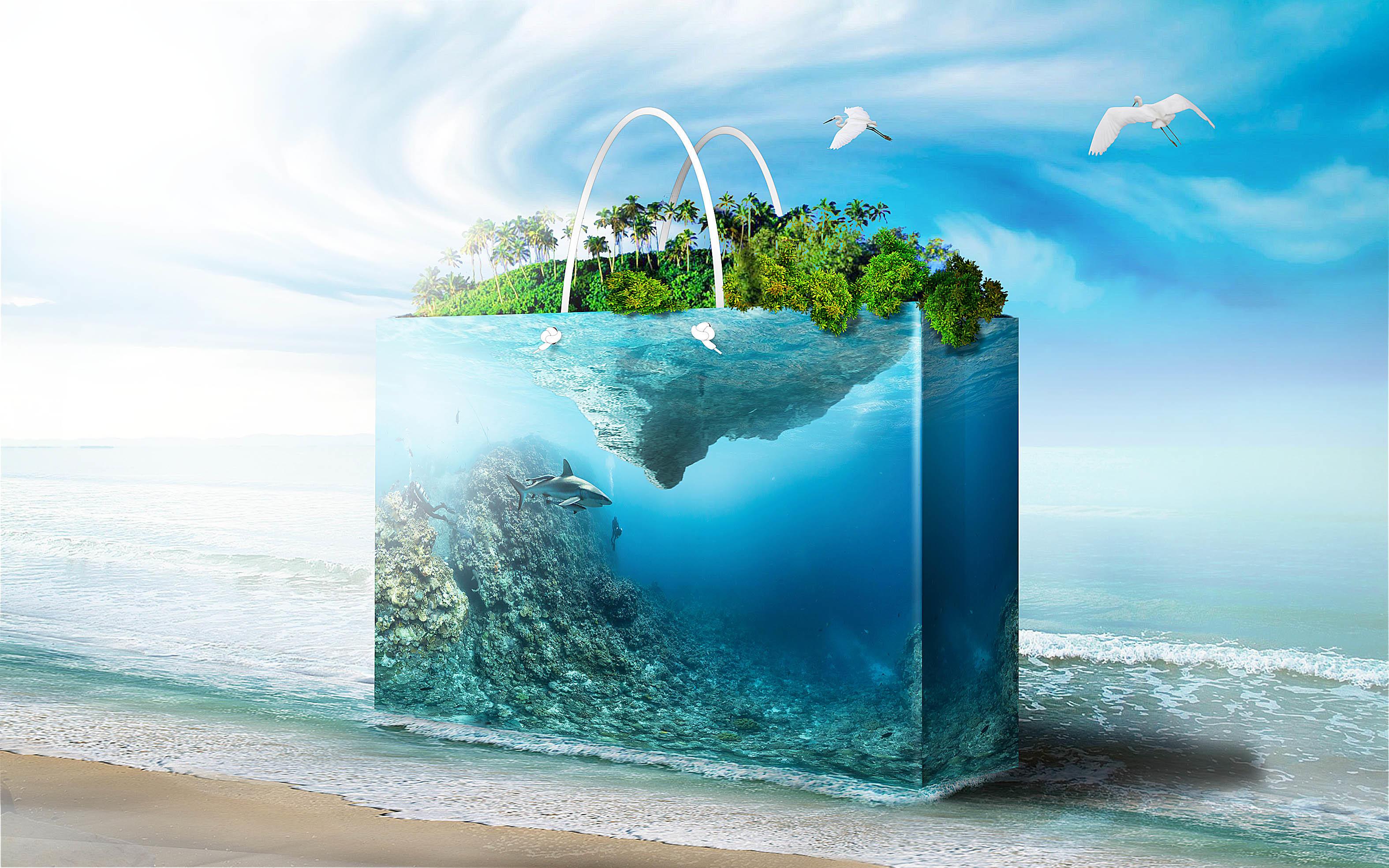Обои море, берег, аквариум, фантасмагория