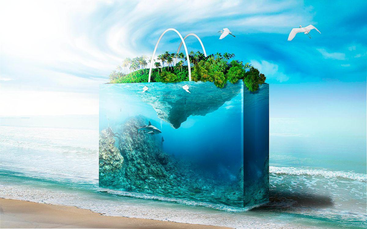 Фото бесплатно море, берег, аквариум, фантасмагория, 3d графика