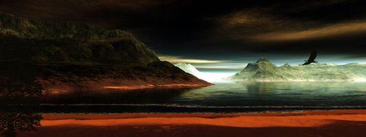 Заставки море, острова, горы, скалы, ночь, ястреб