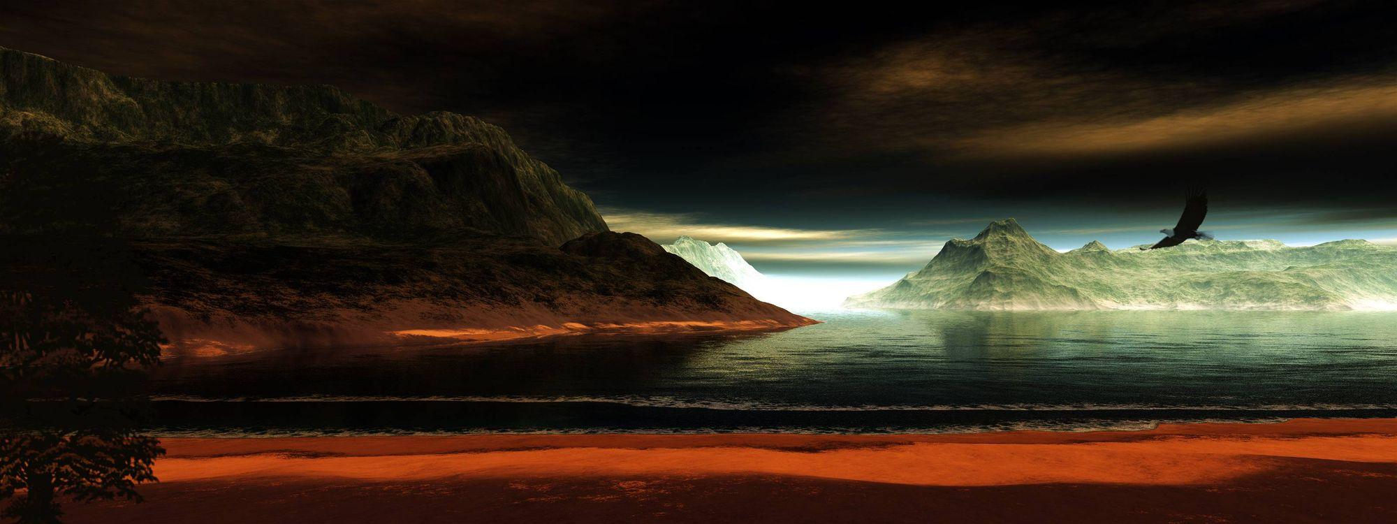 Обои море, острова, горы, скалы, ночь, ястреб на телефон | картинки пейзажи