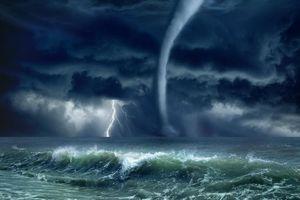 Заставки волны, море, молния