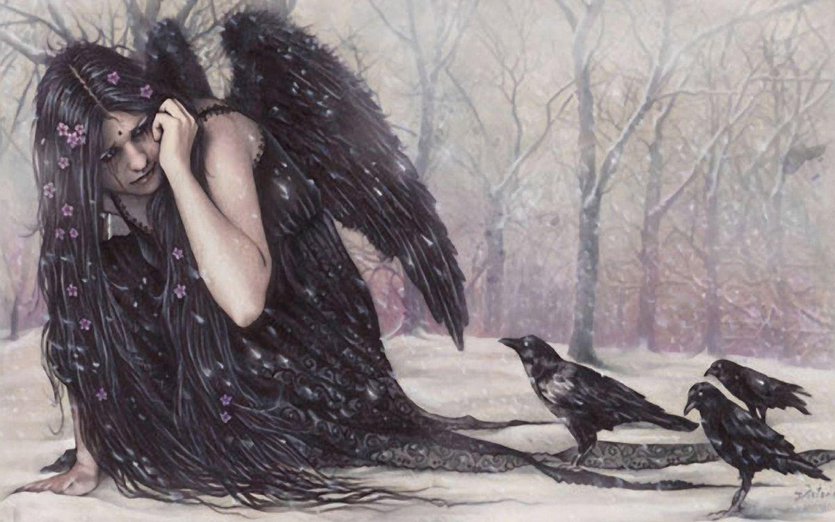 Фото бесплатно девочка, волосы, крылья - на рабочий стол