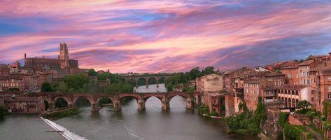 Бесплатные фото город,Франция,Альби,Река,мост,кафедральный собор,закат