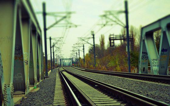 Бесплатные фото мост,железная дорога,рельсы,шпалы,пути,столбы,провода