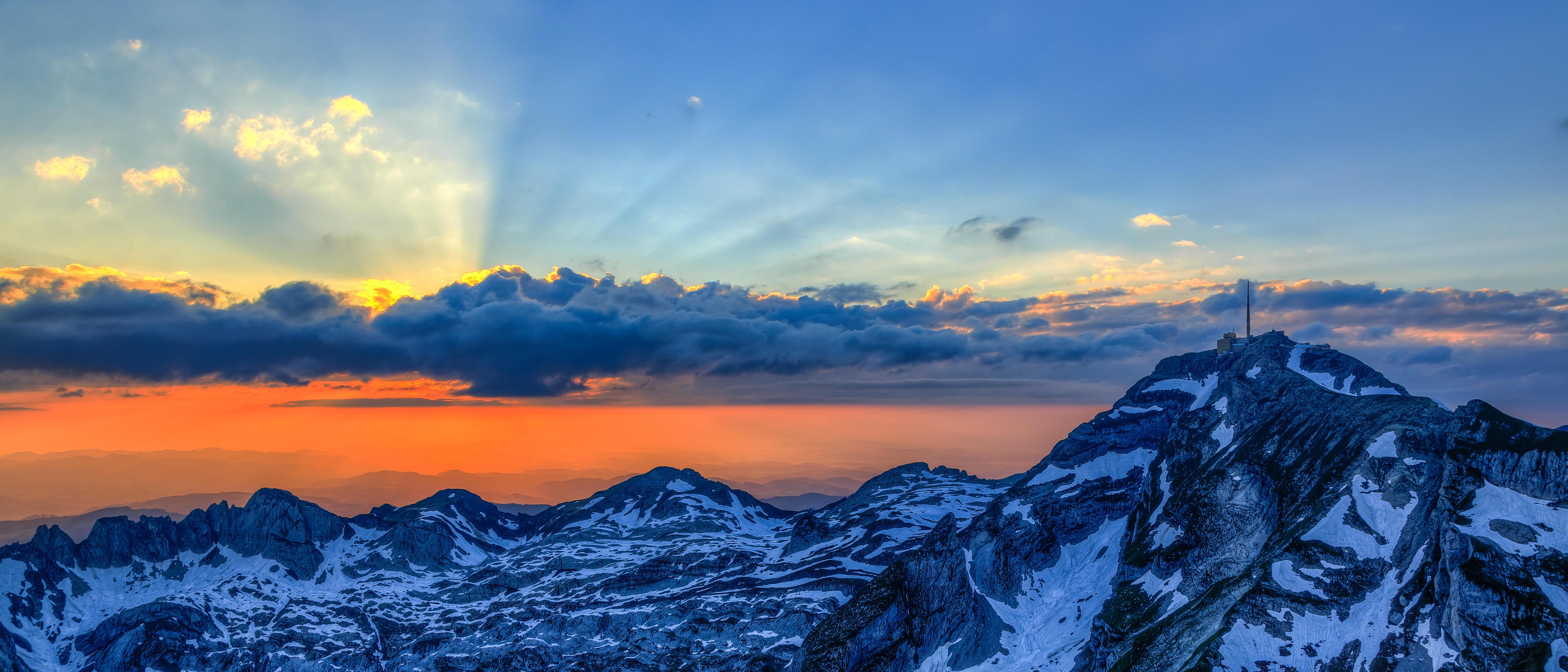обои Швейцария, Альпы, горы, закат картинки фото