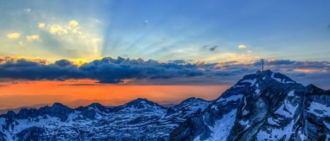 Бесплатные фото Швейцария,Альпы,горы,закат,панорама,пейзаж