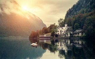 Бесплатные фото горы,озеро,лебедь,берег,дом,имение,растительность