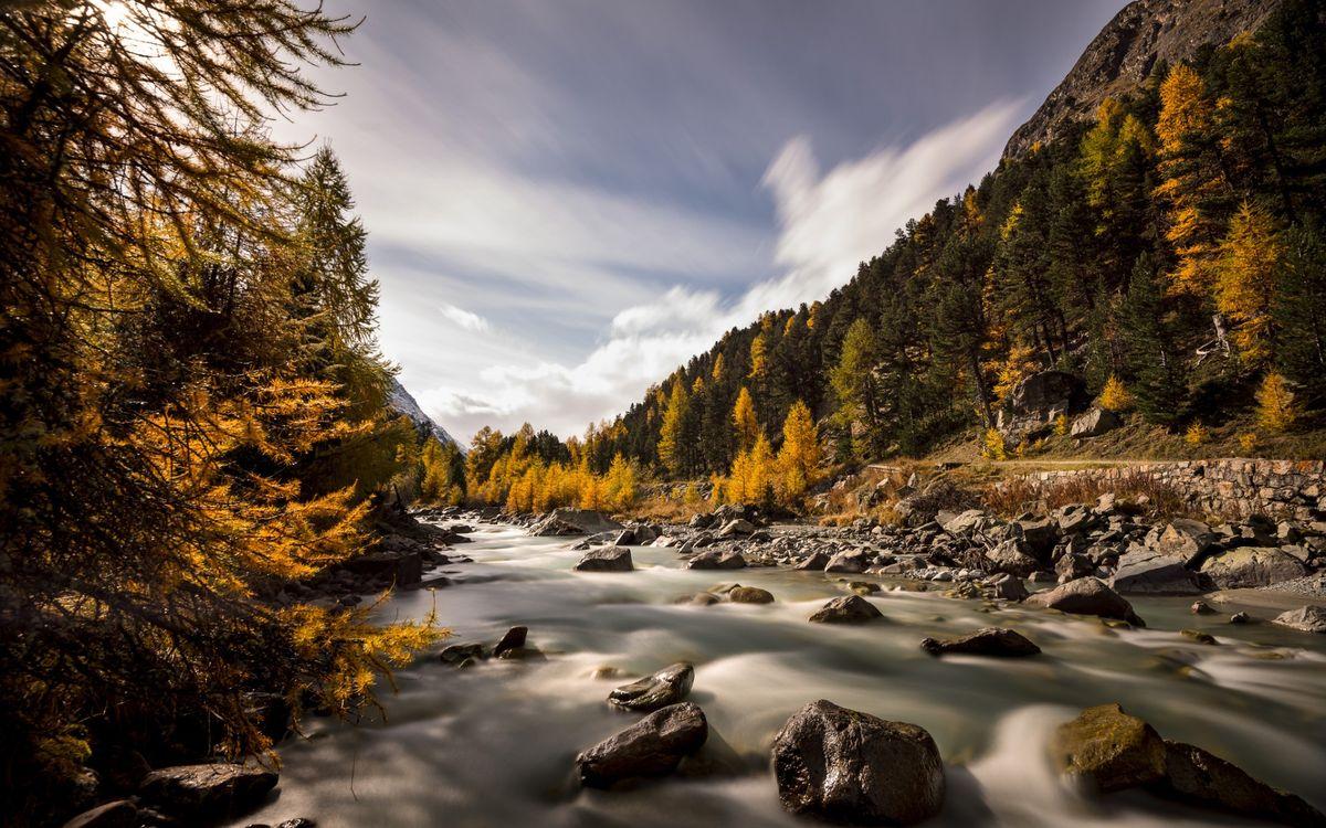 Фото бесплатно река, течение, камни, валуны, горы, лес, природа