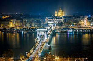 Заставки подвесной мост через реку Дунай, Цепной мост, Венгрия