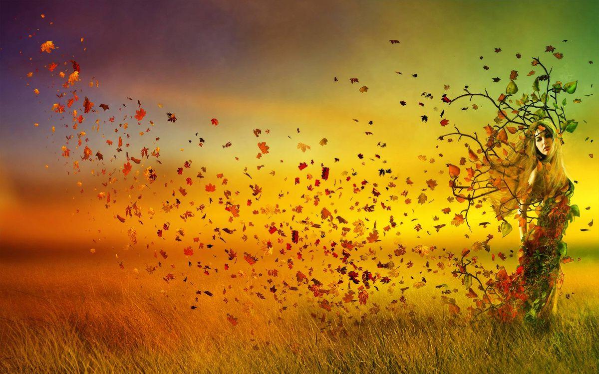 Фото бесплатно девушка, листья клена, трава, поле, рисунок, рендеринг