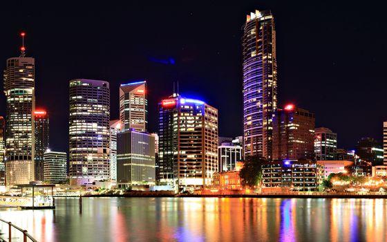 Фото бесплатно небоскребы, река, набережная