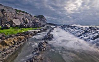 Бесплатные фото побережье,камни,валуны,море,насыпь,волны,небо