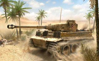 Photo free tank Tiger, sands, palm trees