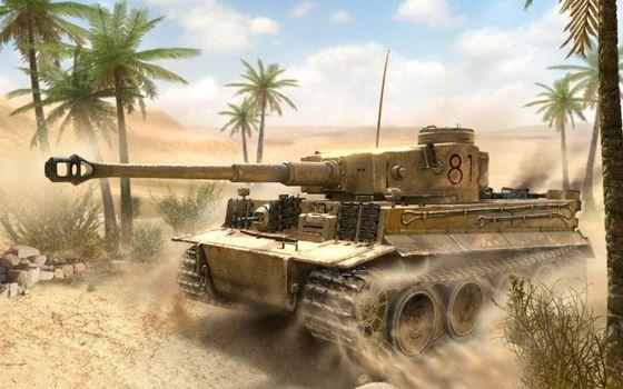 Бесплатные фото танк Тигр,пески,пальмы,world of tanks
