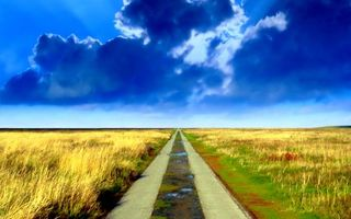 Фото бесплатно дорога, лужи, поле, горизонт, небо, облака