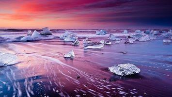 Бесплатные фото океан,лед,льдинки,вода,весна,закат