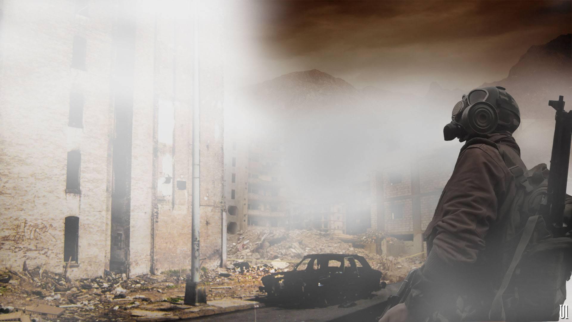 человек, противогаз, разрушенный город