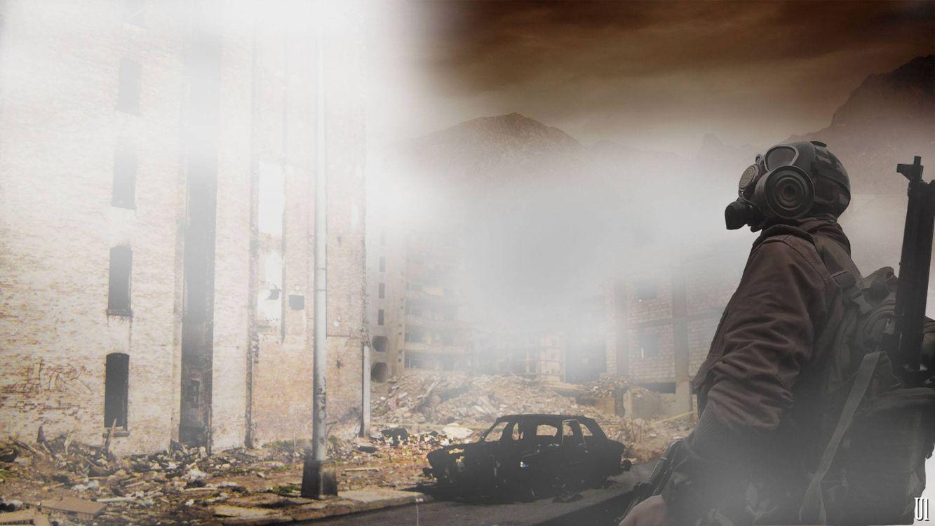 Фото бесплатно человек, противогаз, разрушенный город - на рабочий стол