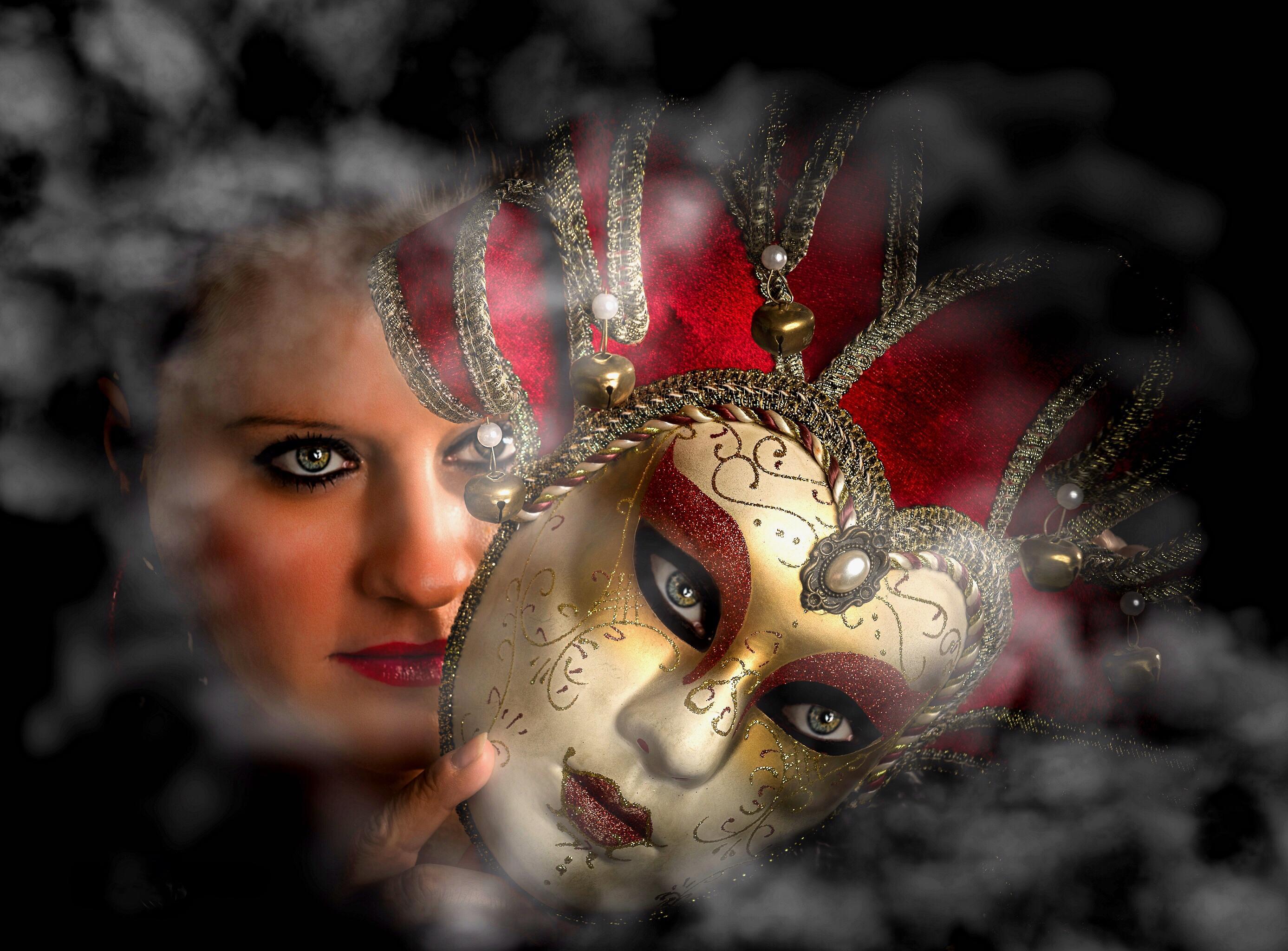 Обои портретное фото, девушка, Venetian Mystery, Венецианская маска