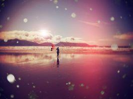 Фото бесплатно пляж, девушка, воздушные шарики