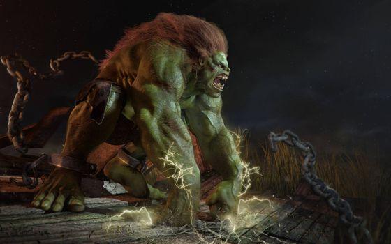 Бесплатные фото Blanka Street Fighter,монстр,в цепях,зеленый,злой