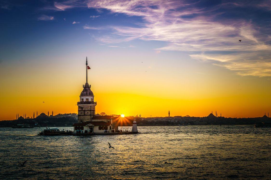 Фото бесплатно Девичья Башня, Стамбул, Турция, море, закат, пейзаж, пейзажи