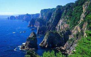 Заставки скалы, море, растительность